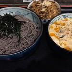 74881049 - 胡麻ダレ鶏つけ蕎麦特盛 & 炊き込みご飯