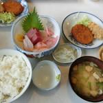 たまや食堂 - 料理写真:【おまかせセット】『とある刺身 コロッケ etc 定食』1,380円
