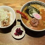 麺や 六三六 - 味玉ラーメン&豚ほぐしご飯920円