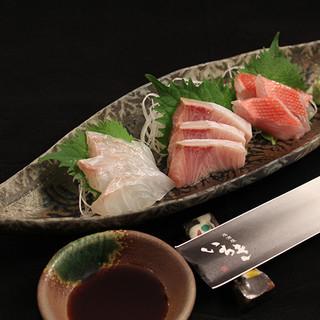 川越市場から旬の鮮魚を仕入れてご提供