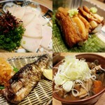 華やぎ - ミンク鯨の畝須、江戸前穴子の握り、秋刀魚、もつ煮込み