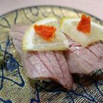 廻転寿司 海鮮 - (2017/10月)「本まぐろの背トロの塩炙り(2貫)」