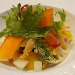 74948596 - 前菜 つぶ貝のサラダ仕立て コラトゥーラの香り