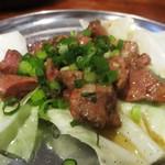 市場屋台 ええかげん - 炙りレバー 380円:毎日 朝引きされた 鶏レバーが美味しい。      2017.10.15