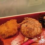 ザ・ガーデン自由が丘 - 豚ロースと玉ねぎの串カツ&豆腐ハンバーグ