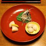 明神下 神田川 - お通し 銀杏、牡蠣の胡麻油漬け、焼き帆立貝