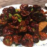 蓮双庭 - 朝天唐辛子とねこやさんの伊勢海老の炒め物