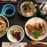 旬彩亭 秀 - 料理写真:「丼・どん・ドン」(山かけ丼・キジ丼・かき揚げ丼) 蓋がしてあるのは味噌汁と茶碗蒸し