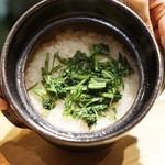 御幸町 田がわ - 菊菜の土鍋ご飯
