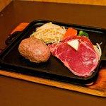 モーモー亭 - 料理写真:人気No、1!人気のハンバーグとやわらかステーキを同時に!