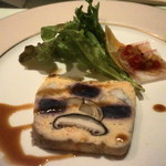 ビストロ備前 - 秋の味覚、ムラサキ芋とキノコ魚介類のテリーヌ