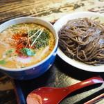 手作り麺 めん僮楽 - つけ麺の味噌、黒小麦麺 1.5玉 840円