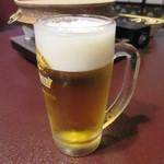 料亭 金鍋 - 最初の一杯は生ビール