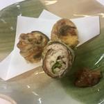 花蝶 - 秋刀魚、舞茸、ししとうの天麩羅
