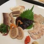 寿司割烹 魚徳 - さえずり、胃ぶくろ、食道、ひゃくひろ(腸)、うね、赤身