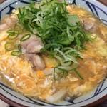 丸亀製麺 - 親子あんかけうどんとネギトッピング
