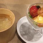 チャイニーズレストランシーズン - スープ&サーモンのサラダ
