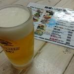鰺家 - 生ビールセット