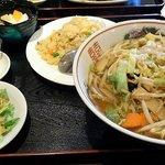 麗人飯店 - 野菜ラーメン+半チャーハンセット
