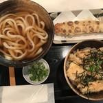 うだま - ランチセット(780円)のとり天ごましそ丼とかけうどん、ちくわ天(150円)