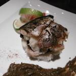 秋刀魚のコンフィとマッシュポテトの重ね焼 秋なすのピューレ添え