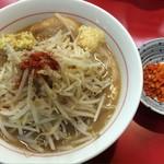 千里眼 - ラーメン 麺160g ヤサイ少なめ・ニンニク・ショウガ・カラアゲ別皿で 730円