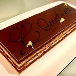 カフェレストラン テラス - シー・クワテュオール【Cの四重奏】(赤木康彦)@コーヒー(cafe)、チョコレート(chocolat)、キャラメル(caramel)、栗(chataigne)、4つの「C」を組み合わせたケーキ