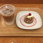 75089350 - アイスカフェラテ&神戸産イチジクのタルト