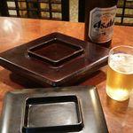 菱東 - 中瓶ビール 500円(税込)、白焼、蒲焼 2017年10月