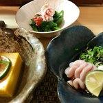 和食 直 - かぼちゃ豆腐 たちポン ほうれん草のお浸しカニのせ