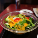 西安餃子 - ミニトマト、ミックスレタス、水菜、トレビスのサラダアップ