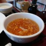 西安餃子 - 大根と人参のかき玉スープアップ