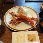 洋食春 - 有頭エビフライ、ライス&味噌汁セット