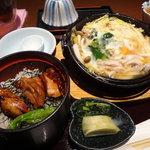 とりかく - 春野菜の玉子とじとミニ焼き鶏丼定食