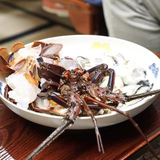 得仙 - 料理写真:伊勢海老、牡蠣