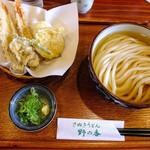 野の香 - 天ぷらとうどんのセット(ちく玉天、かけ冷)