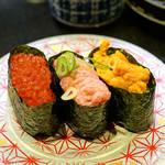 回し寿司 活 活美登利 - 本日の軍艦食べ比べ 雲丹、イクラ、ネギトロ