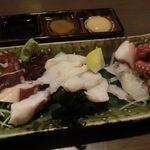 多幸屋 - 蛸食べ比べ造り三種盛り 2017.10.1