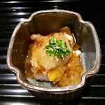 75165639 - 鱧と汲み上げ湯葉と生源寺茸と柿の林檎酢ジュレがけ