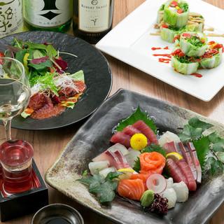 宴会コース4種類あります。魚、肉、野菜『完全手作り』です。