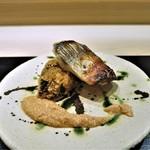 銀座 よし澤 - カマスの焼物・椎茸のあられ揚げ