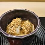 銀座 よし澤 - 鱧の豊年揚げと松茸・このわたの茶碗蒸し