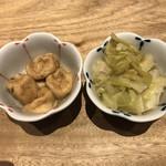 京都 五行 - お通し(がんも明太ポテトサラダ(650円)どき&キャベツの煮物)