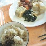 菜食レストラン シャローム - バイキング、今日のメイン料理と炊き込みごはん/玄米・黒豆ごはん