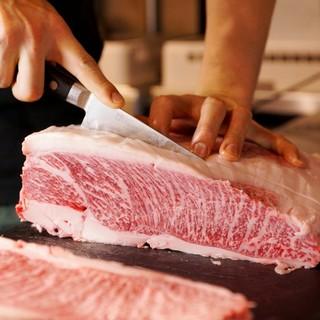 """素材へのこだわり日本1の和牛""""豊後牛""""を炭火焼"""