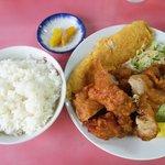 天領 - 玉子焼き鶏天ご飯:700円