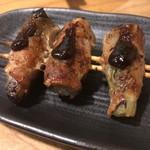 焼鳥 丸屋 - 秋茄子と大葉の肉巻き串