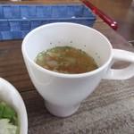 テキサスロングホーン - 暫く待つと先ずはセットメニューのスープとサラダがテーブルに運ばれて来ました。  スープはオニオンカップスープでした。