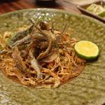 辺銀食堂 - 旬の小魚揚げは、ミーバイ(ハタ)