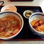 75208587 - うどん定食(700円)かけうどん、ソースカツ丼(2017年10月)